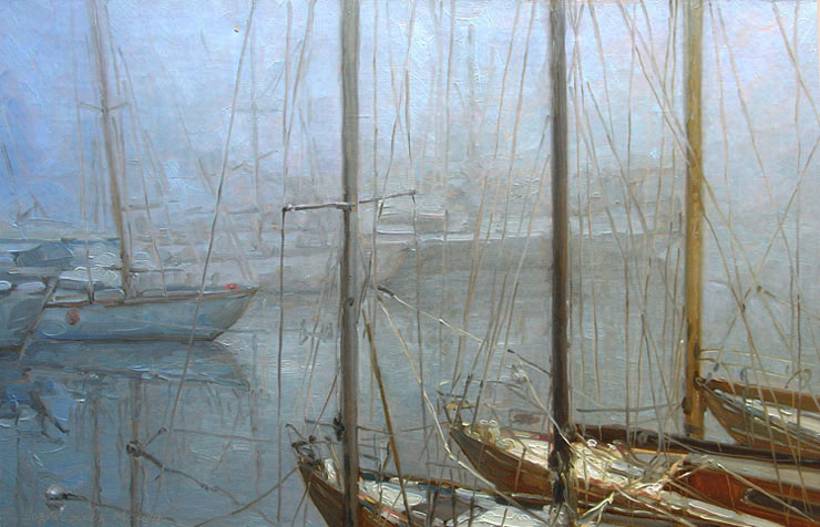 The artist Marina Podgaevskaya: picture Yachts in the fog - canvas, oil
