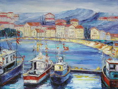 The artist Marina Podgaevskaya: picture Landscape with ships - canvas, oil