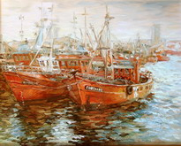 The artist Marina Podgaevskaya: picture Red ships. Argentina - canvas, oil